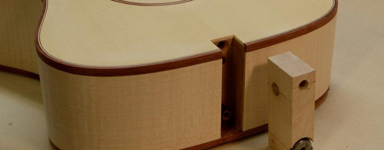 The neck mortise and the floating tenon for the adjustable neck joint.