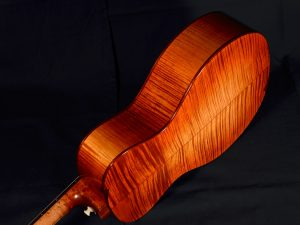 Brilliantly flamed and bursted sugar maple for this tenor.