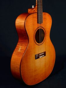 Number 19 is an Adirondack spruce and sugar maple tenor with a dyed sunburst finish.