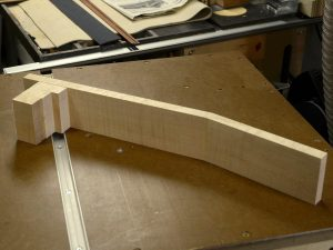 The heel block is made up of stacked pieces of the maple neck stock.