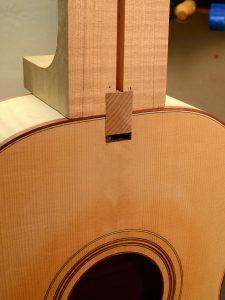 The tenon is glued to the neck and then bolted to the body.