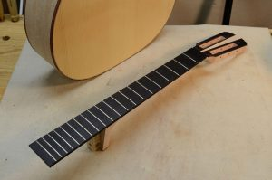 The neck has been fretted--I love the all-black look on this guitar..