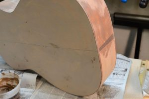 With a porous wood like sycamore, the first finishing step is filling the pores.