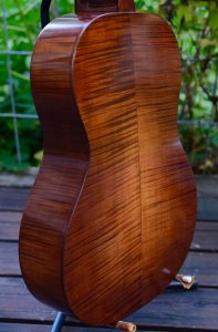 I hand-applied a sunburst finish to this sugar maple body using water-soluble wood dyes.