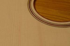 The rosette of a guitar top