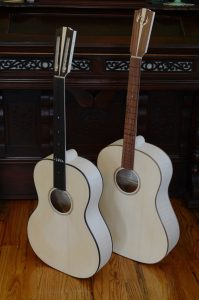 Assembled unfinished guitars