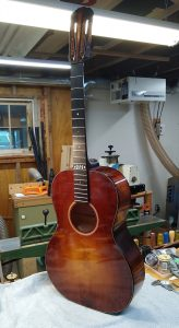 A guitar showing the new sunburst finish.