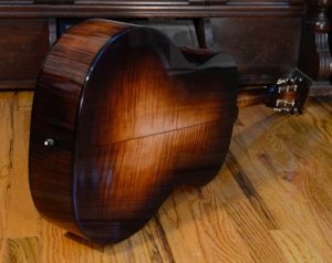 Showing the back side of a colored maple guitar body.
