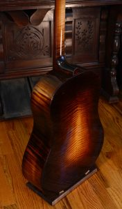 Back of a dyed maple guitar.